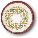 "7744287 Eva Rosenstand Kit Daisy Pincushion 3"" circle; Linen; 30ct"