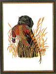 "7712883 Eva Rosenstand Kit Black Lab With Pheasant 12"" x 16""; Linen; 25ct"