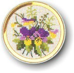 "7746002 Eva Rosenstand Kit Pansy Handbag Mirror 2"" circle; Linen; 30ct"