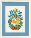 "7712891 Eva Rosenstand Kit Chicks in Basket 8"" x 10""; Linen; 25ct"