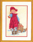 "7712966 Eva Rosenstand Kit Girl With Sled 12"" x 16""; Linen; 25ct"