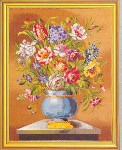 "7714163 Eva Rosenstand Kit Flowers With Blue Vase 20"" x 26""; Linen; 20ct"