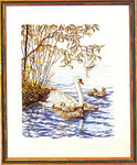 "7714073 Eva Rosenstand Kit Mother Swan 16"" x 20"" ; Linen; 25ct"