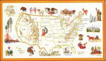 "7712606 Eva Rosenstand Kit USA Map 12"" x 16""; Linen; 25ct"