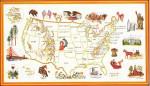 "7712606 Eva Rosenstand Kit USA Map 12"" x 16""; Linen; 25ct"