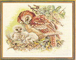 "7712523 Eva Rosenstand Kit Mother Owl 20"" x 16""; Linen; 25ct"
