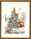 "7714143 Eva Rosenstand Kit Animals By Tree 16"" x 20"" ; Aida; 14ct"