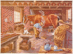 "7714227 Eva Rosenstand Kit Horse Shoeing Scene 20"" x 16""; Linen; 25ct"