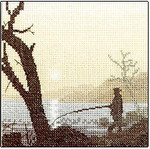 "HCK332 Heritage Crafts Kit Gone Fishing by Phil Smith 5"" x 5""; Evenweave; 28ct"