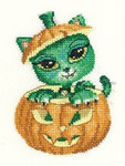 "HCK988 Heritage Crafts Kit Halloween - Kitty Kats by James Ryman 2.8"" x 4""; Evenweave; 28ct"