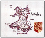 "HCK130 Heritage Crafts Kit Wales Map by Susan Ryder 8.5"" x 7""; Evenweave; 28ct"