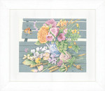 "PN146981 Lanarte Kit Flowers on Bench 14"" x 11""; Evenweave; 27ct"