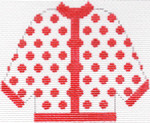 45 Red Polka Dot Cardigan Ornament 5.5 x 4.5 13 Count Silver Needle Designs