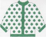 50 Green Polka Dot Cardigan Ornament 5.5 x 4.5 13 Count Silver Needle Designs