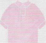 55 Pink Polo Shirt Ornament 4.75 x 4.75 13 Count  Silver Needle Designs