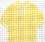 60 Yellow Polo Shirt Ornament 4.75 x 4.75 13 Count Silver Needle Designs