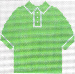 61 Lime Green  Polo Shirt Ornament 4.75 x 4.75 13 Count Silver Needle Designs