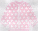 67 Pink w/ White Polka Dots Cardigan Ornament 5.5 x 4.5 13 Count Silver Needle Designs