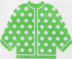 73 Lime Green w/ White Polka Dots Cardigan Ornament 5.5 x 4.5 13 Count Silver Needle Designs