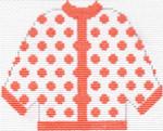 47 Orange Polka Dot Cardigan Ornament 5.5 x 4.5 13 Count Silver Needle Designs