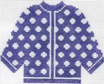 78 Purple w/ White Polka Dots Cardigan Ornament 5.5 x 4.5 13 Count Silver Needle Designs