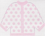 43 Pink Polka Dot Cardigan Ornament 5.5 x 4.5 13 Count Silver Needle Designs