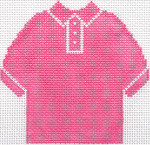 56 Hot Pink Polo Shirt Ornament 4.75 x 4.75 13 Count Silver Needle Designs