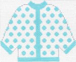 51 Sky Blue Polka Dot Cardigan Ornament 5.5 x 4.5 13 Count Silver Needle Designs