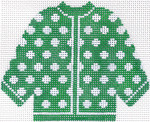 74 Green w/ White Polka Dots Cardigan Ornament 5.5 x 4.5 13 Count Silver Needle Designs