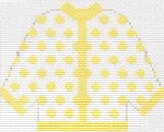 48 Yellow Polka Dot Cardigan Ornament 5.5 x 4.5 13 Count Silver Needle Designs