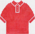 57 Red Polo Shirt Ornament 4.75 x 4.75 13 Count Silver Needle Designs