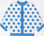 52 Blue Polka Dot Cardigan Ornament 5.5 x 4.5 13 Count Silver Needle Designs