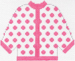 44 Hot Pink Polka Dot Cardigan Ornament 5.5 x 4.5 13 Count Silver Needle Designs