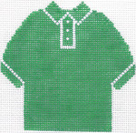 62 Green Polo Shirt Ornament 4.75 x 4.75 13 Count Silver Needle Designs