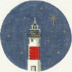 172 Lighthouse Ornament 4.75 circle 18 Count Silver Needle Designs