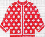 69 Red w/ White Polka Dots Cardigan Ornament 5.5 x 4.5 13 Count Silver Needle Designs