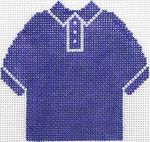 66 Purple Polo Shirt Ornament 4.75 x 4.75 13 Count Silver Needle Designs
