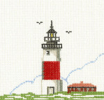 144A Sankaty Head Lighthouse 5 x5 18 Count Silver Needle Designs