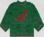 81 Designs Green Sweater with Chocolate Lab Ornament 5.5 x 4.5 13 Count Silver Needle Designs