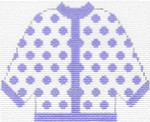 53 Lilac Polka Dot Cardigan Ornament 5.5 x 4.5 13 Count Silver Needle Designs