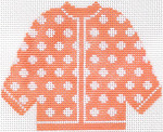 70 Sherbet w/ White Polka Dots Cardigan Ornament 5.5 x 4.5 13 Count Silver Needle Designs