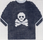 79B Jolly Roger T-Shirt Ornament (Black) 4.75 x 4.75 13 Count Silver Needle Designs