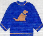 82 Blue Sweater with Yellow Lab Ornament 5.5 x 4.5 13 Count Silver Needle Designs