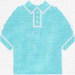 63 Sky Blue Polo Shirt Ornament 4.75 x 4.75 13 Count Silver Needle Designs