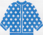 76 Blue w/ White Polka Dots Cardigan Ornament 5.5 x 4.5 13 Count Silver Needle Designs