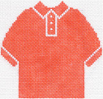 59 Orange Polo Shirt Ornament 4.75 x 4.75 13 Count Silver Needle Designs