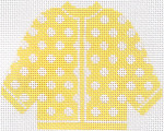 72 Yellow w/ White Polka Dots Cardigan Ornament 5.5 x 4.5 13 Count Silver Needle Designs