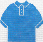 64 Blue  Polo Shirt Ornament 4.75 x 4.75 13 Count Silver Needle Designs