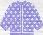 77 Lilac w/ White Polka Dots Cardigan Ornament 5.5 x 4.5 13 Count Silver Needle Designs