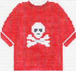 79R Jolly Roger T-Shirt Ornament (Red) 4.75 x 4.75 13 Count Silver Needle Designs